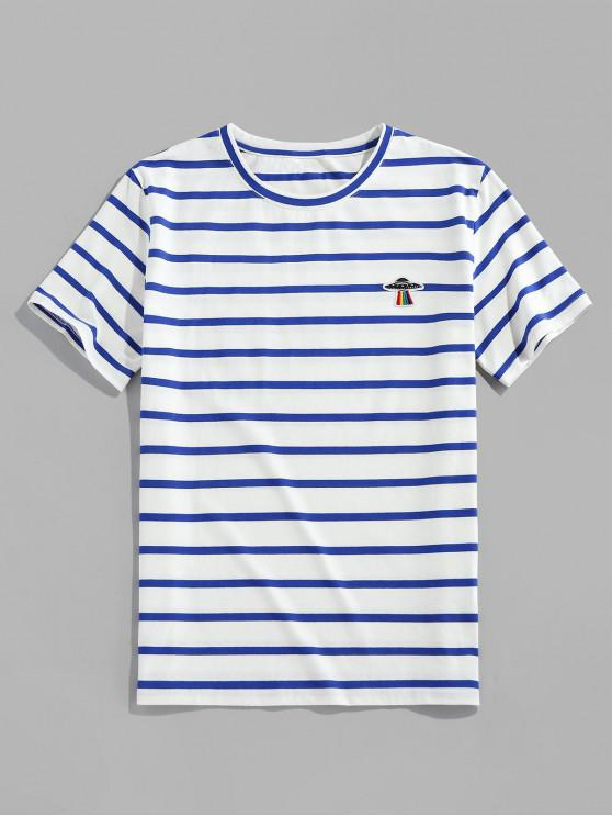 ZAFUL Striped Print UFO Embroidered Casual T-shirt - أزرق XL