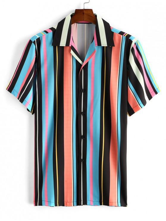 women's Notched Collar Stripe Shirt - DODGER BLUE 2XL