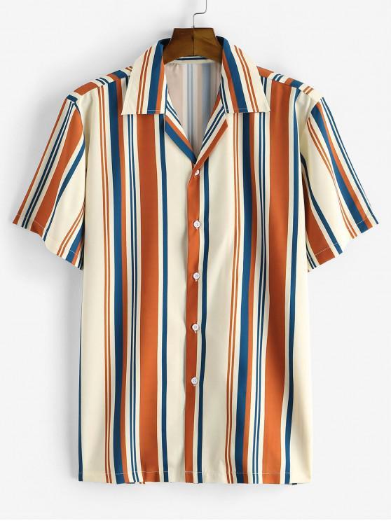 ladies Stripes Pattern Button Down Shirt - COFFEE S