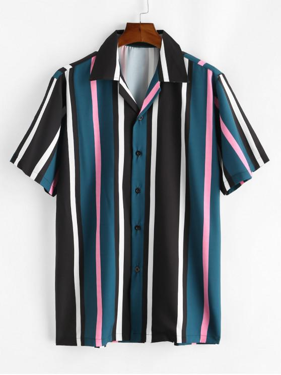 Camisa a Rayas con Cuello de Bloqueo de Color - Verde de Bosque Oscuro L