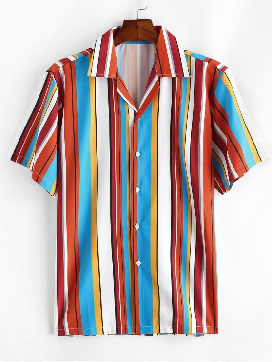 Eingekerbtes Kragen Kontrast Streifen Hemd - Rosso Rot XL