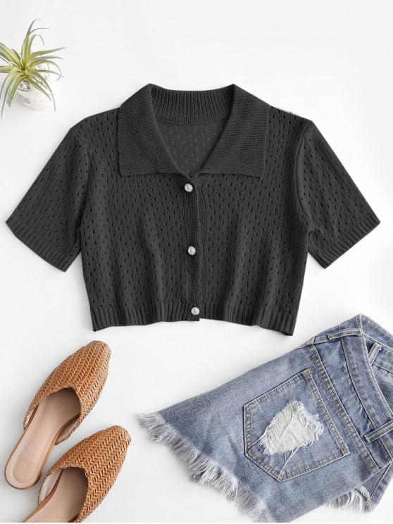 sale Eyelet Pearly Button Up Knitted Top - BLACK ONE SIZE
