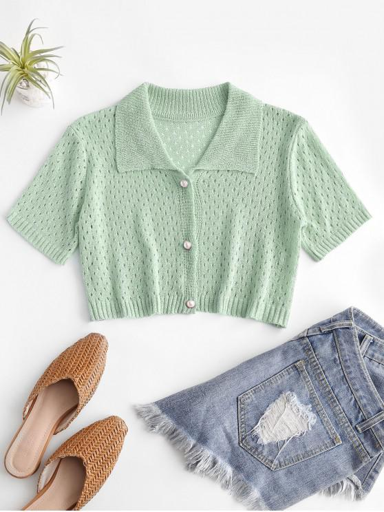 affordable Eyelet Pearly Button Up Knitted Top - LIGHT GREEN ONE SIZE