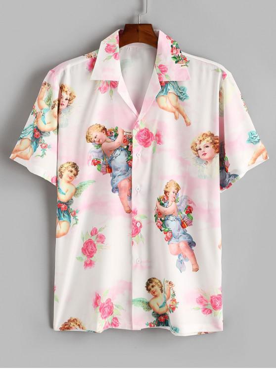 Angel Flower Renaissance Print Vacation Shirt - خنزير وردي S