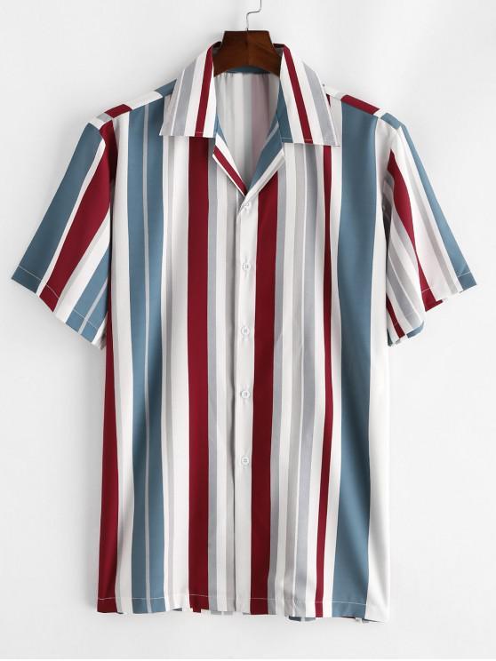 trendy Button Up Contrast Stripe Shirt - LIGHT SLATE GRAY 2XL