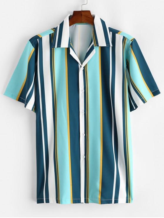 Camisa a Rayas con Cuello en V y Color Bloque - Celeste S