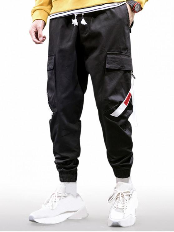 Letter Print Multi Pockets Cargo Jogger Pants - أسود 4XL