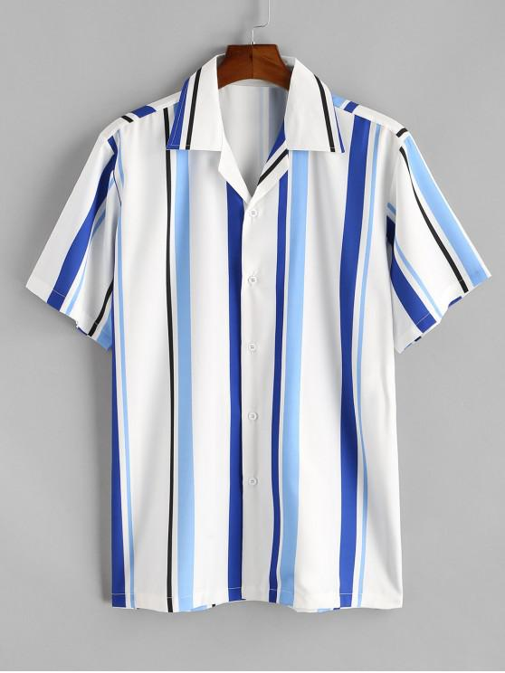 Stripe Notched Collar Shirt - ديب سكاي بلو M