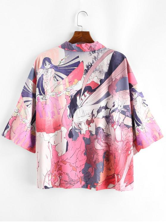 lady Anime Geisha Samurai Graphic Oriental Kimono Cardigan - LIGHT PINK 2XL