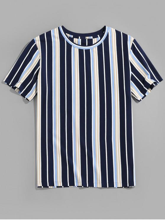 Vertical Stripe Print Round Neck T-shirt - ازرق غامق L