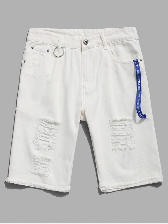 lady Distressed Ripped Ribbon Ring Demin Shorts - WHITE 42
