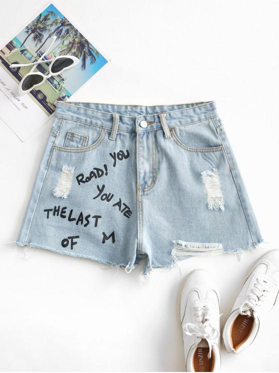 Distressed Letter Graphic Denim Shorts - أزرق فاتح L
