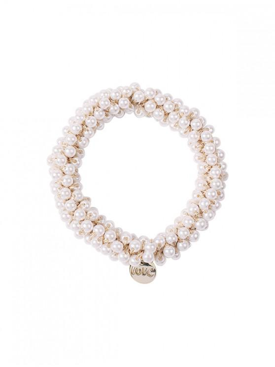 Faux Crystal Beads Hair Tie - رمادي فاتح