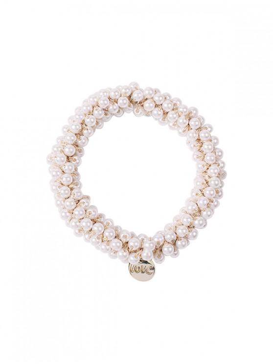 ladies Faux Crystal Beads Hair Tie - LIGHT GRAY