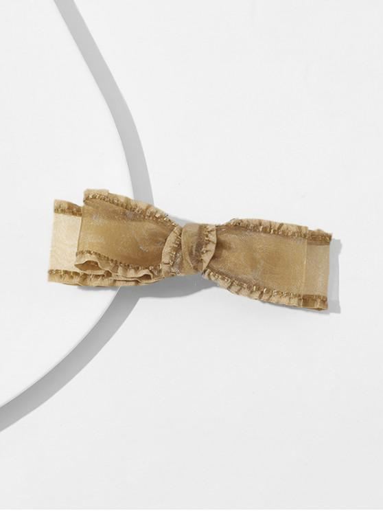 online Gauze Layers Bowknot Hairgrip - COFFEE