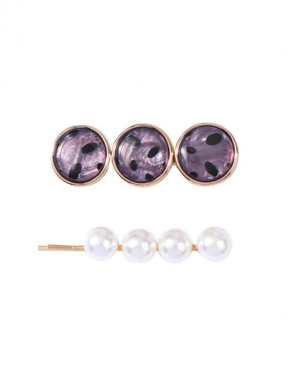 2Pcs Faux Pearl Spotted Hairpin Set - الرمادي الداكن