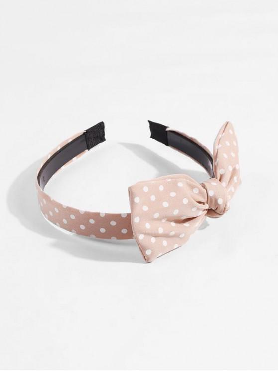 women's Bowknot Dot Printed Fabric Hairband - LIGHT ORANGE