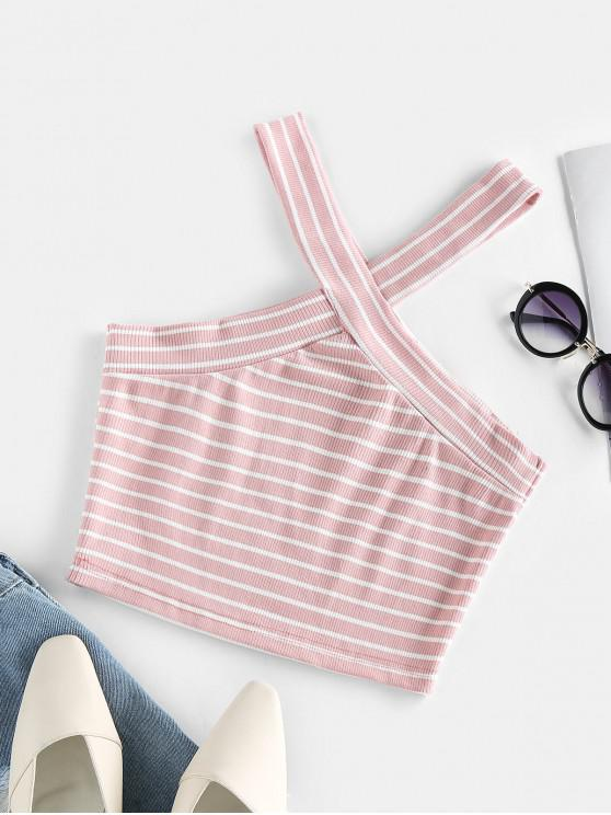 outfits ZAFUL Striped Ribbed Cutaway V Neck Tank Top - LIGHT PINK XL