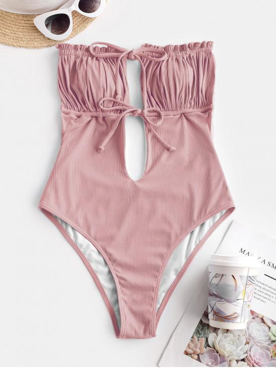 best ZAFUL Ribbed Tie Ruched Bandeau One-piece Swimsuit - LIGHT PINK S