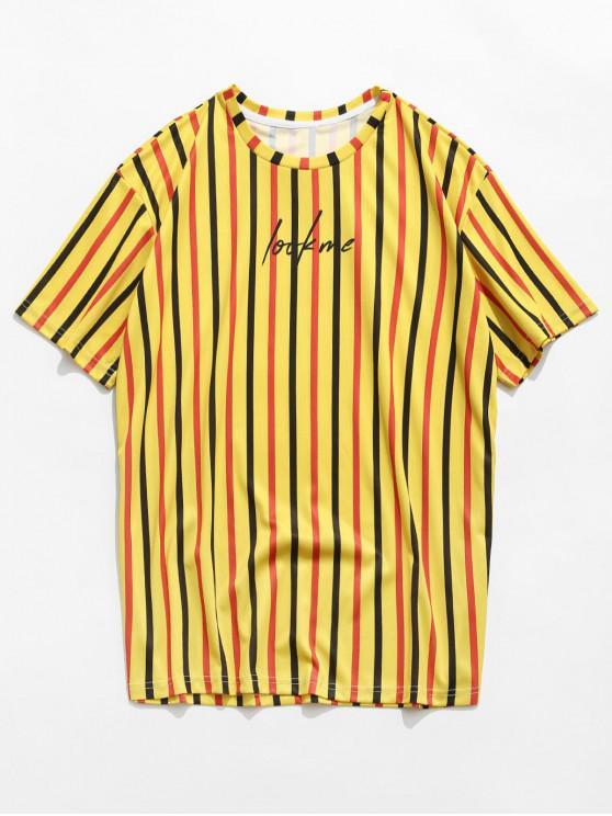 Letter Striped Design Short Sleeves T-shirt - الأصفر XL