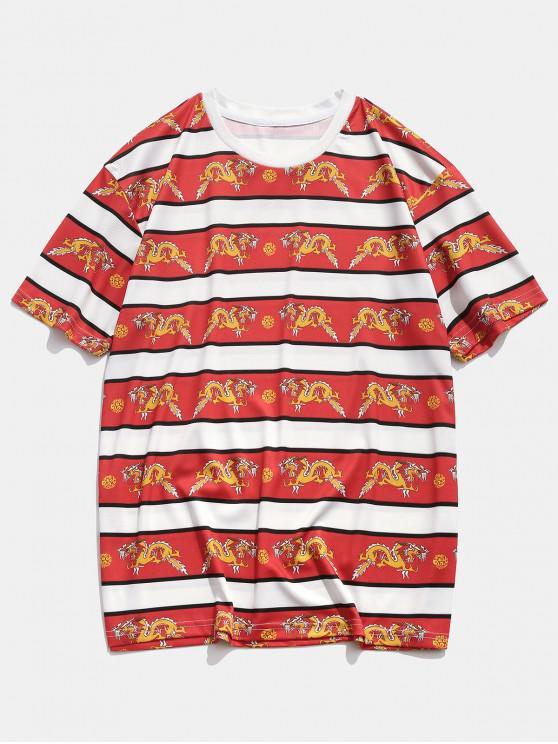 Drachendruck Kurzarm Lässiges T-Shirt - Rot 2XL