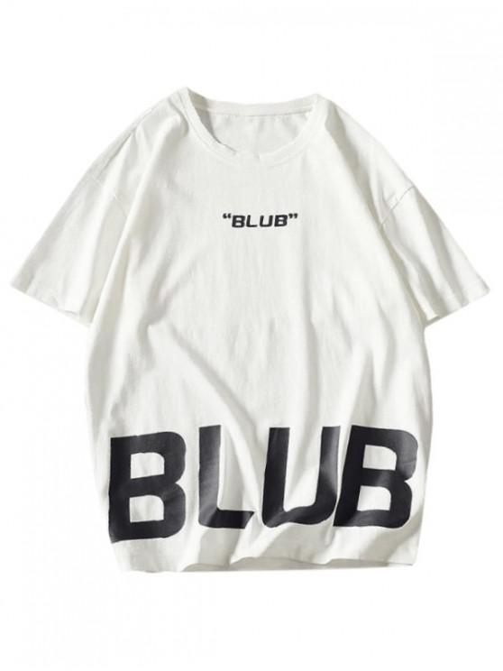 Blub Graphic Crew Neck Drop Shoulder T-shirt - أبيض M