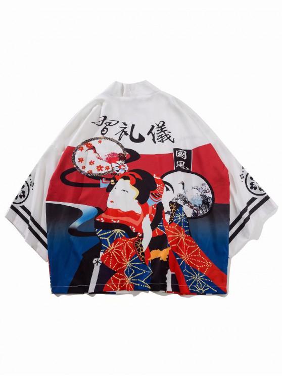 outfits Open Front Geisha Floral Print Oriental Kimono Cardigan - MILK WHITE 2XL