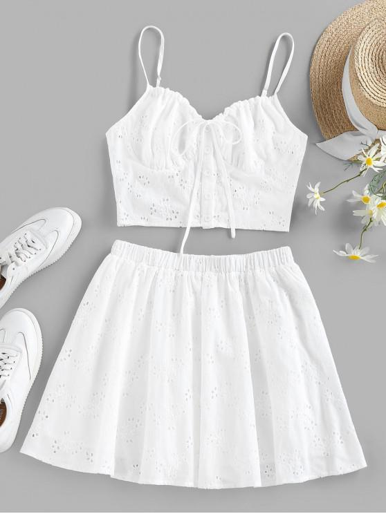 shops ZAFUL Eyelet Bowknot Cupped Mini Skirt Set - WHITE S
