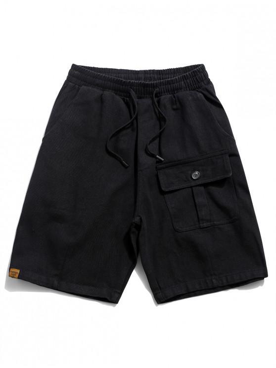 Solid Flap Pocket Drawstring Solid Shorts - أسود 2XL