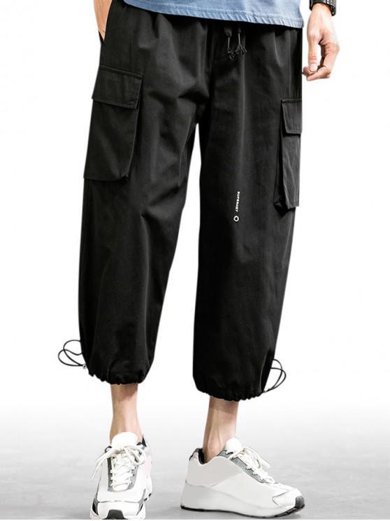 Letter Print Drawstring Jogger Cargo Pants - أسود 4XL