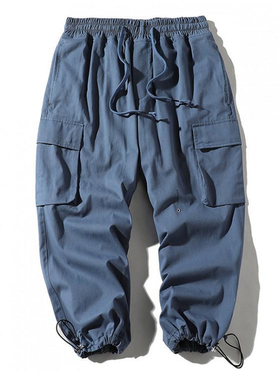 Letter Print Drawstring Jogger Cargo Pants - ازرق رمادي XL