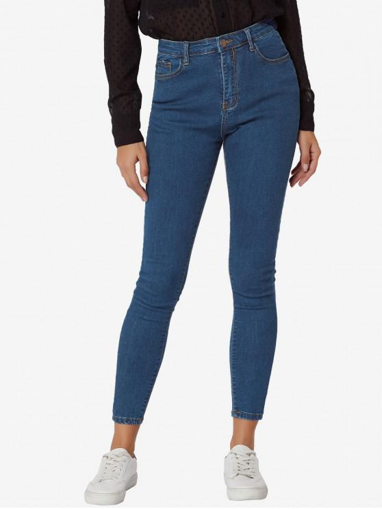 lady Dark Wash High Waisted Skinny Jeans - DEEP BLUE L