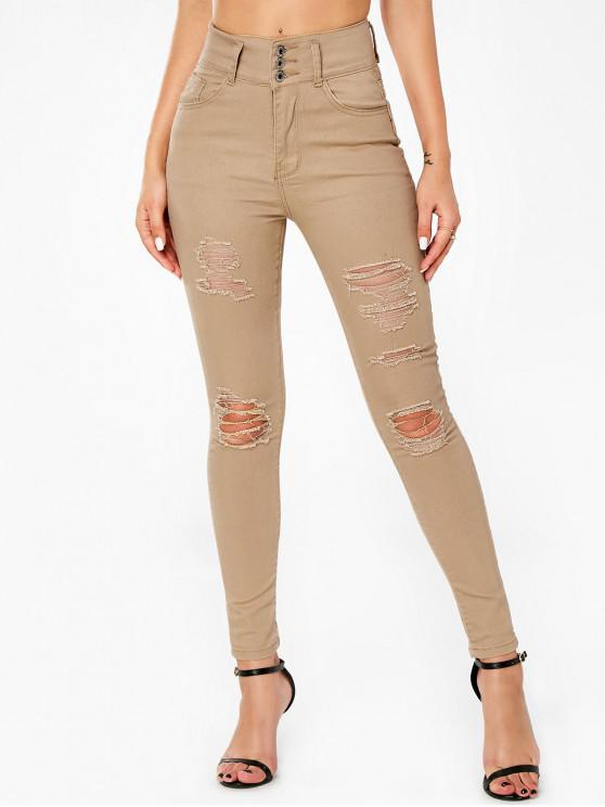 unique Button Distressed Camel Denim Pencil Pants - LIGHT YELLOW L