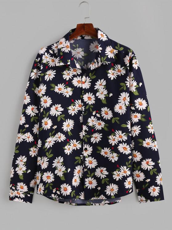 outfits ZAFUL Daisy Print Button Up Long Sleeve Shirt - DEEP BLUE 2XL