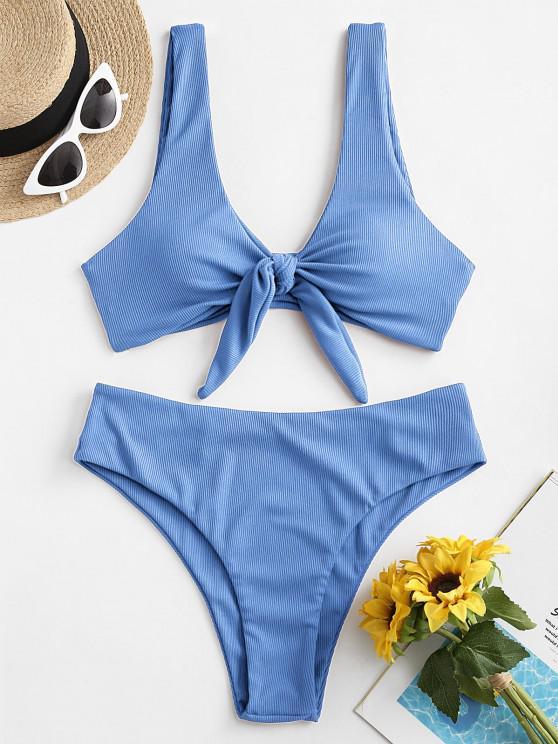 trendy ZAFUL Tie Front Ribbed Bikini Swimsuit - LIGHT BLUE S