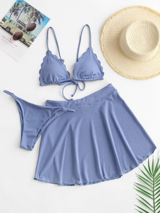 lady ZAFUL Scalloped Trim Ribbed Three Piece Swimsuit - BLUE M