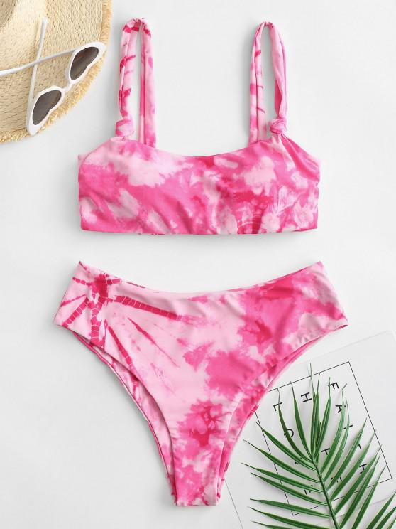 shop ZAFUL Tie Dye High Leg Scoop Neck Bikini Swimsuit - LIGHT PINK L