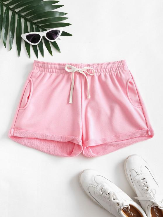 Pockets Drawstring Cuffed Hem Sweat Shorts - وردي فاتح XL