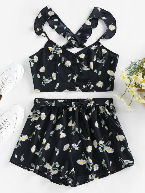 affordable ZAFUL Crisscross Daisy Print Two Piece Shorts Set - BLACK S