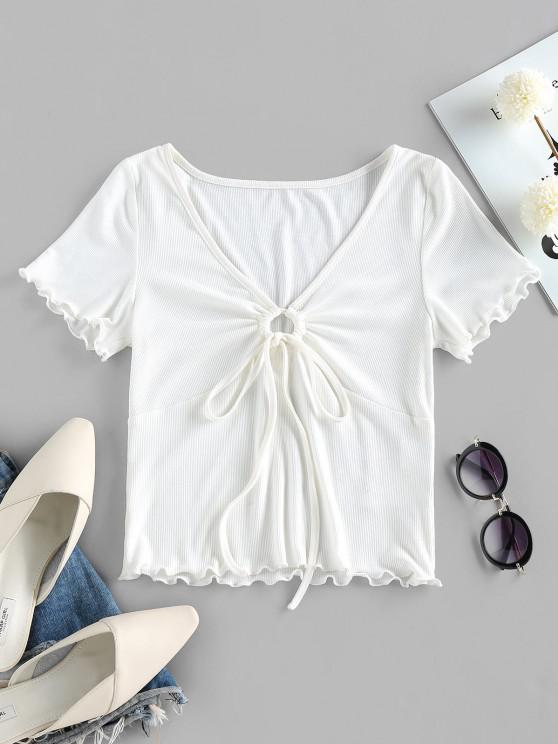 chic ZAFUL Lettuce Trim Ribbed Cinched T Shirt - MILK WHITE S