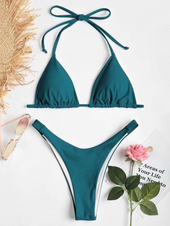 buy Cheeky Halter High Cut Bikini Set - DEEP GREEN S