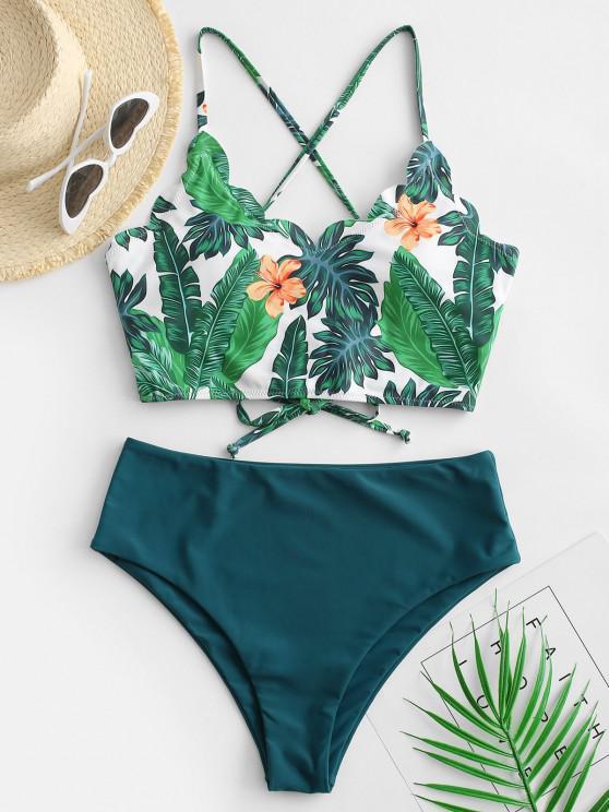 ZAFUL Leaf Print Scalloped Lace-up Tropical Tankini Swimwear - ديب غرين M