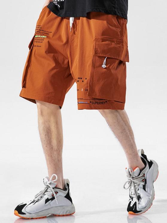 Pantaloncini con Stampa Lettere e Multi Tasche - Arancio 3XL