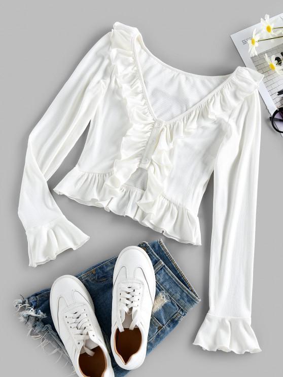 sale ZAFUL Ruffle Ribbed Crop T Shirt - WHITE XL