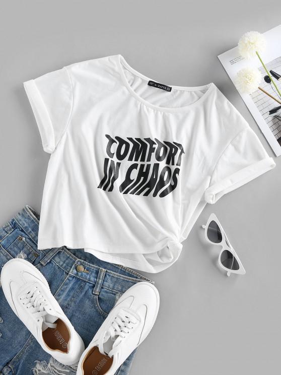 ZAFUL T-shirt de Emagrecimento de Impressão de Letras de Mangas Curtas de Gola Dobradiça para Homens - Branco S