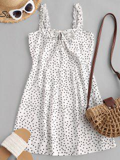 Ruffled Straps Dotted Tie Collar Mini Dress - White M