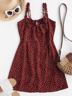 Mini Vestido Cuello Puntos Rizado - Rojo S