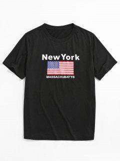ZAFUL Ammerican Flag New York Basic T-shirt - Black Xl