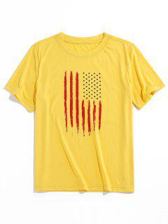 ZAFUL American Flag Pattern Basic T-shirt - Yellow 2xl