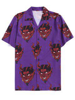 Demon Pattern Short Sleeve Shirt - Purple Iris Xl